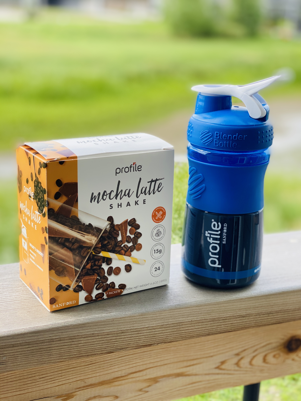 Profile shaker bottle and Mocha Latte shake