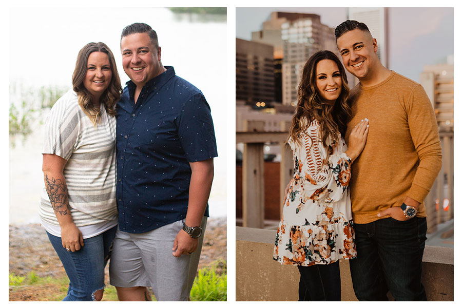 before and after weight loss photos of a wife and husband; weight loss photos of Profile members