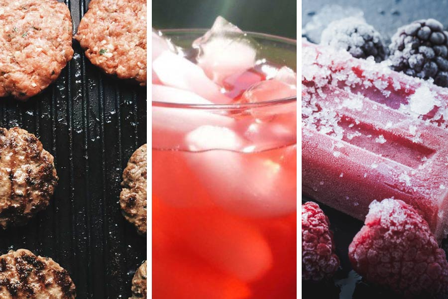 burgers on a grill, iced drink, and popsicles