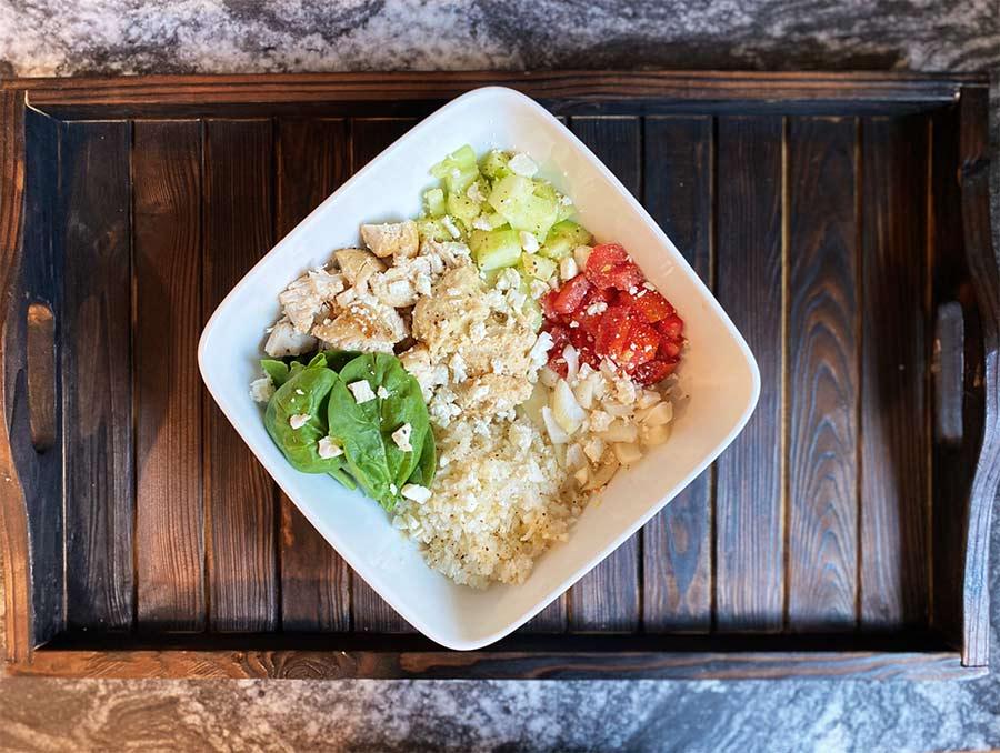 Chicken hummus bowl