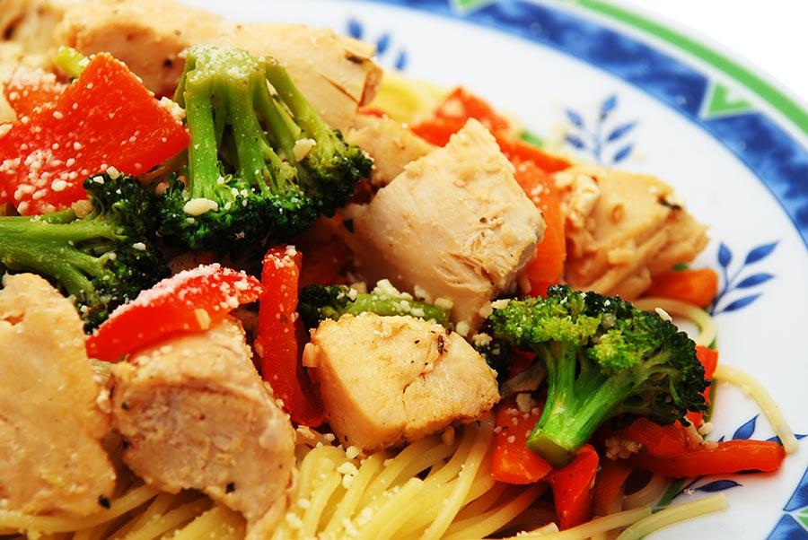 Basil Pesto Chicken and Vegetable Linguine