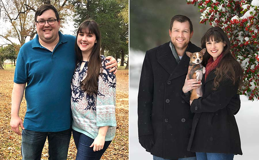 before and after weight loss photos of a couple