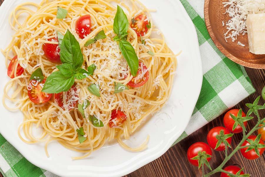 Caprese Noodles on plate