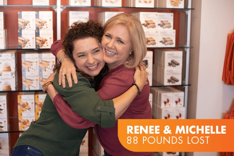 Renee and Michelle lost 88 pounds on Profile. Photo of two friends hugging