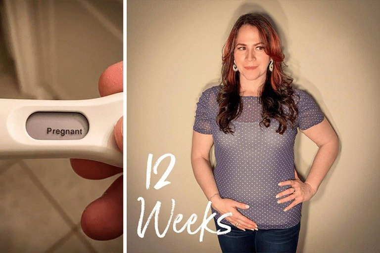 Pregnant Profile Member, Rhianna, showing her 12-week bump and pregnancy test