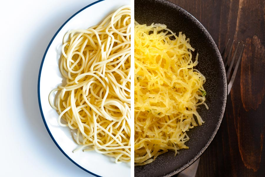 healthy food swap, spaghetti noodles swapped for spaghetti squash