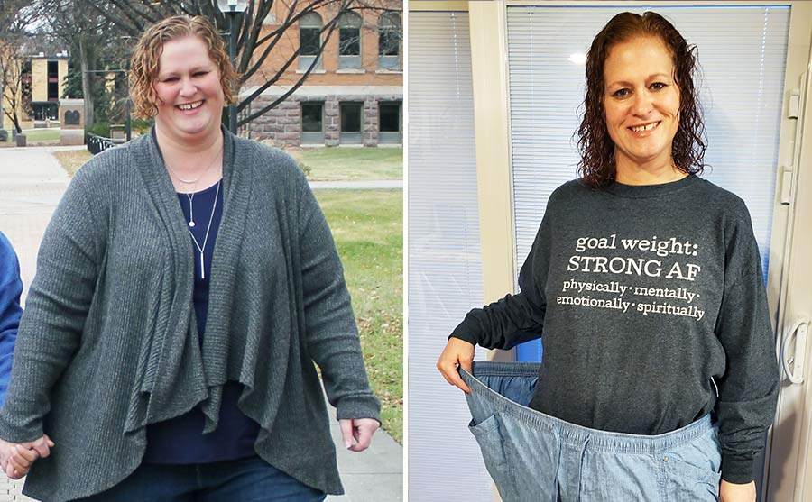 Woman's weight loss journey, before and after weight loss images