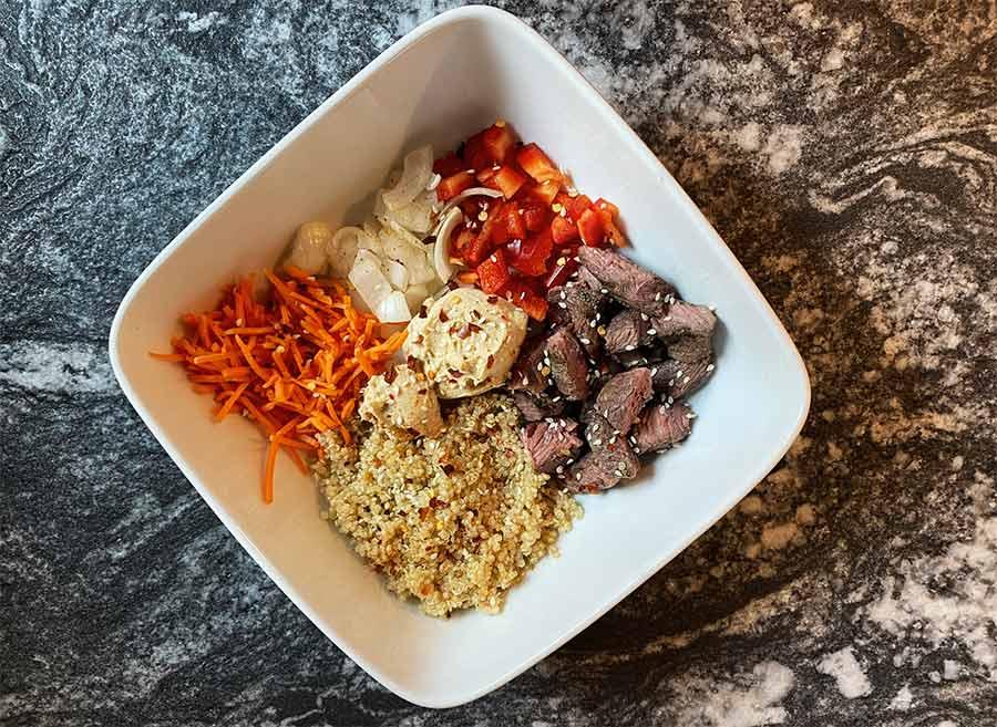 Korean Steak Hummus Bowl